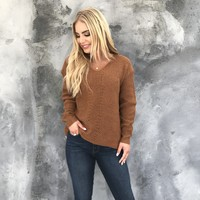 Cuddle Weather Knit Sweater In Camel