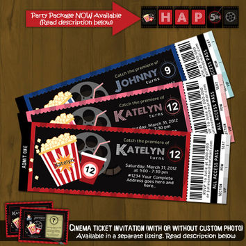 Movie Night Ticket Invitation - Movies and Popcorn Printable Birthday Invitation - Movie Ticket Style - for boys, girls or both