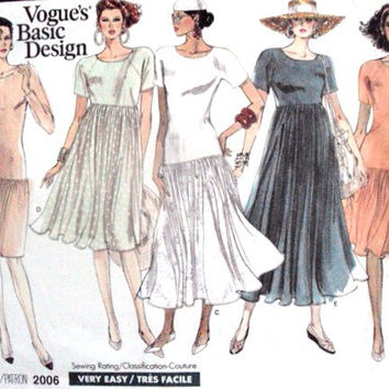 T-shirt dress Sewing Pattern, vintage 80s, high fashion peasant dress, knit fabrics, Vogue 2006, Basic Design easy dress pattern size 6 8 10