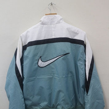 Nike Track Jacket Sweater Nike Air Green Yellow 90s Size Extra Large Nike SwooshStripes 90s Vintage Nike Sweatshirt