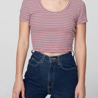 Striped Baby Rib Crop T | American Apparel