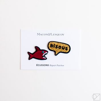 Macon & Lesquoy Shark & Kisses Hand Embroidered Patch