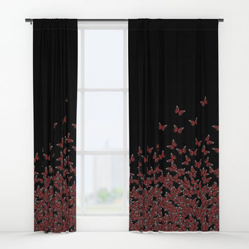 Butterflies, butterfly Horde ;) flying insects themed pattern, red and black, vector design Window Curtains by Casemiro Arts - Peter Reiss