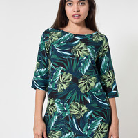 Jungle Leaves Print Tent Dress
