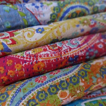 Wholesale Lot of 10 Printed Paisley Kantha Bedspread, Handmade Queen Size Kantha Quilt, Designer Kantha Bedding, Indian Cotton Bed Cover