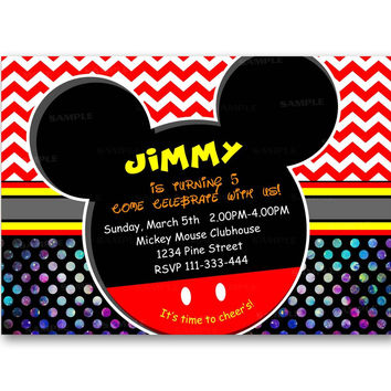 Mickey Mouse Colorful Glitter Polka Dot Kids Birthday Invitation Party Design