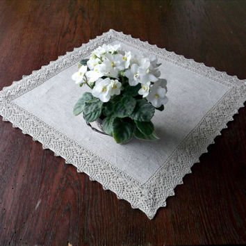 Small square dining table centerpiece with lace edging natural flax gray fabric placemat linen napkin