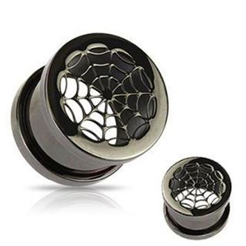 ac ICIKO2Q 1 Pair of spider web plug gauges stainless steel screw fit ear plugs flesh tunnel ear expander