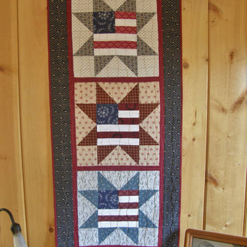 Memorial Day Patriotic Americana Wall Hanging - Rustic 4th of July Quilt