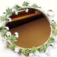 Vintage Antique Mirror // White Daisies // Metal Work Frame // Sculptured Leaves Flowers // Bath Vanity Decor // Retro 1960s