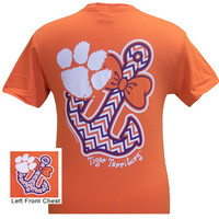 New South Carolina Clemson Tigers Anchor Bow Girlie Bright T Shirt