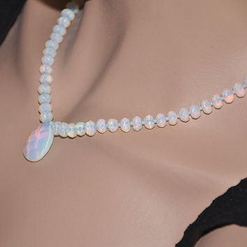 Opalite Necklace, Moonstone Necklace, Wedding Jewelry, Silver Necklace, Sterling Silver, Gemstone Necklace