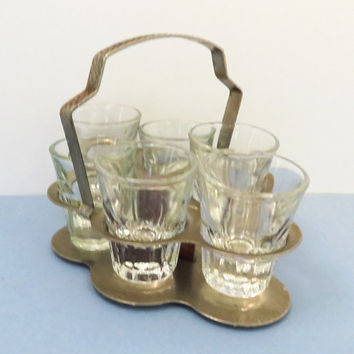 Vintage shot glasses with silver caddy metal holder shot glass set of 6 - Vintage barware bar decor - Mid-Century drinkware