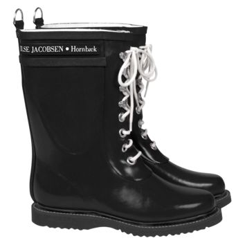 Classic Mid-Calf Rubber Boot With Laces - Black