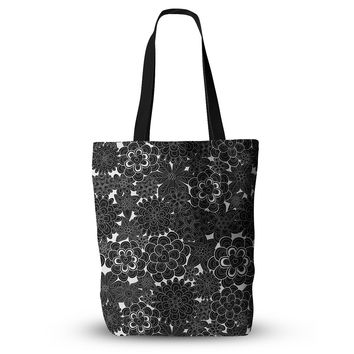 "Julia Grifol ""Flowers in White & Black"" Black White Everything Tote Bag"
