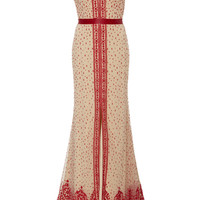 Beaded Cap Sleeve V Neck Gown | Moda Operandi