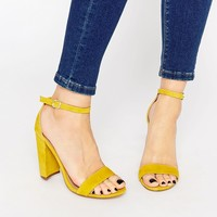 Steve Madden Carrson Yellow Suede Block Heel Sandals at asos.com