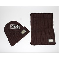 D & G foreign trade scarf big scarf hat suit Brown1