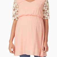 Peach Crochet Sleeve Maternity Tunic
