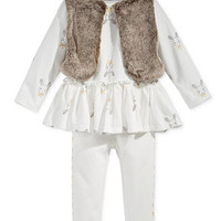 First Impressions Baby Girls' 3-Pc. Faux Fur Vest, Bunny-Print Tunic & Leggings Set, Only at Macy's | macys.com