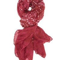 Wine Combo Lightweight Folk Print Wrap Scarf by Charlotte Russe