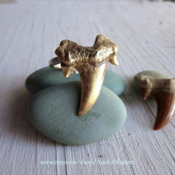 Shark Teeth Ring Nautical Jewelry Shark Week Unisex Summer Sailor Ring Megalodon Black Sails
