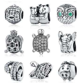 Authentic 925 Sterling Sliver Bead Turtle With Full Crystal Charms Animal Beads Fit Original Pandora Bracelets Necklace DIY