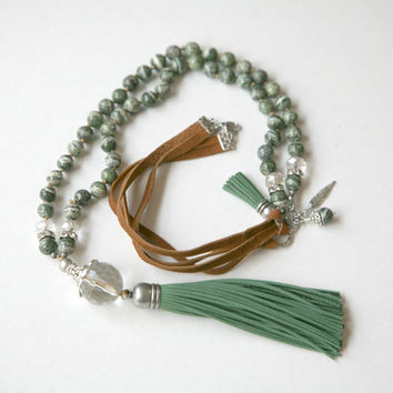 Green and White Stripe and Soft Fern Green Tassel BOHO Style Knotted Leather Corded Necklace