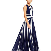 Navy Blue Geometric Pattern Sleeveless Pleated Maxi Dress