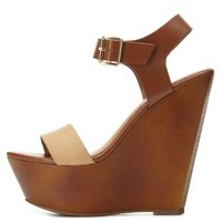 Color Block Platform Wedge Sandals by Charlotte Russe - Tan Combo