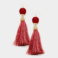 Burgundy & Gold Thread Wrapped Ball Tassel Earrings
