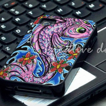 koi canvas painting case for iphone 4/4S, iphone 5/5C, samsung galaxy s3, samsung galaxy s4, ipod 4 and ipod 5