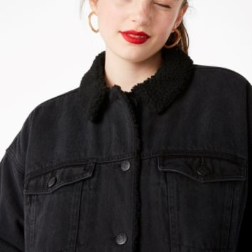 Monki | Jackets & coats | Faux shearling denim jacket