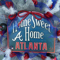 Atlanta Braves Baseball Red, Navy ,White and Silver Fan Deco Mesh Door Wreath