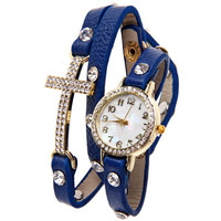 Blue Rhinestone Statement Quartz Watch with Cross Design