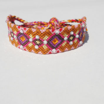 Friendship Bracelet - Colorful with Silver Crystals - Handmade