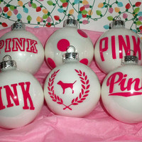 Victoria Secret VS Pink 6PC Glass Ornament Set