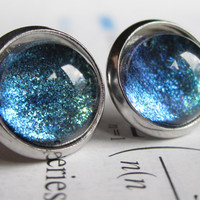 Current - Earring studs - science jewelry - science earring - galaxy jewelry - physics earrings - fake plugs - plug earrings - nebula stud