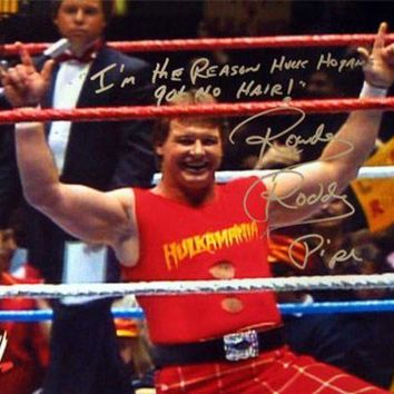 ICIKJNG Rowdy Roddy Piper Signed Autographed Glossy 16x20 Photo With 'I Am The Reason Hulk Hogan's Got No Hair' Inscription (ASI COA)