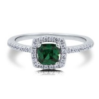 BERRICLE Sterling Silver Simulated Emerald Cubic Zirconia CZ Halo Solitaire Womens Wedding Ring