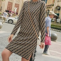 FENDI Classic Popular Women Sexy Open Fork Sweater Medium Long Style Long Sleeve Knit Dress Coffee I13631-1