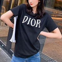 Dior New Hot Sale Couple Embroidered Letter Top T-Shirt