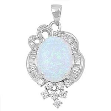 6CT White Opal Cabochon Russian Lab Diamond Accents Pendant Necklace