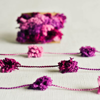 Pom Pom Garland - Berry Pink (6 Yards) Hot Pink Purple Maroon Baby Girl Embellishment Lush Ribbon Yarn Trim Party Decor