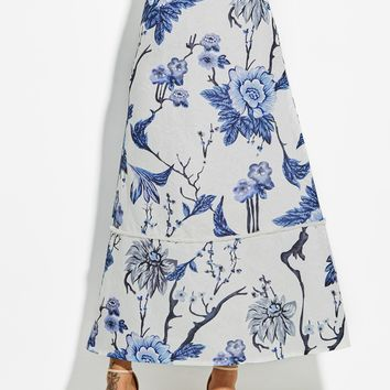 Chicloth Ankle-Length Floral Print A-Line Women's Skirt
