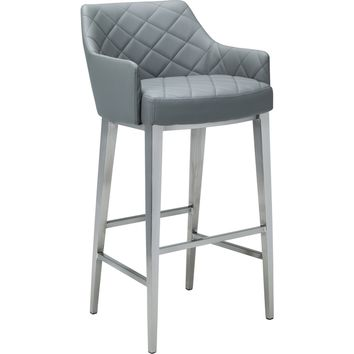 Chase Barstool Grey Leatherette Brushed Stainless Steel