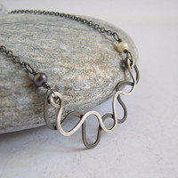 Sterling Silver Double Layer Bar Necklace, White Pearl Peacock Pearl, Hammered Silver Waves