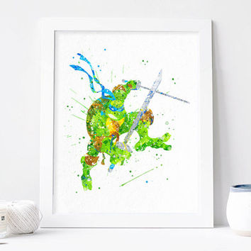 Teenage Mutant Ninja Turtles Leonardo Watercolor printable, Watercolor Print, TMNT art tmnt Poster, Teenage Mutant Ninja Turtles wall art