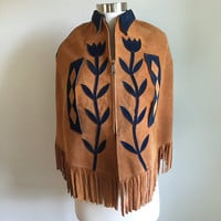 Vtg 1970s Applique CAPE PONCHO Suede Tan + Navy Flowers Floral Leather Fringe S