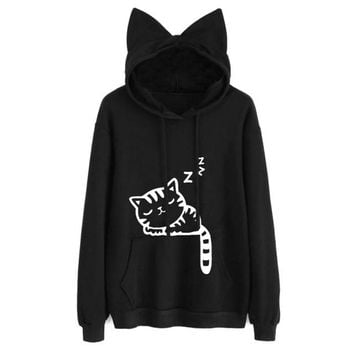 Womens Cat Printed Long Sleeve Hoodies Pullovers Fashion Cat Ear Hooded Sweatshirts Tops